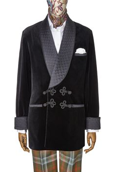 Smoking Jacket With Frogging in Black - New & Lingwood, London