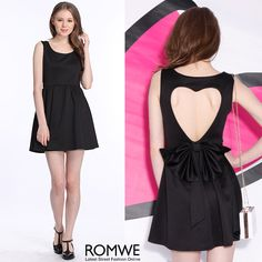 ROMWE Heart-shaped Cutout Sleeveless Black Dress
