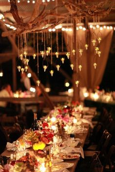 ❥ lights hung on branches. cool for outdoor part!