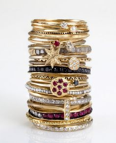 Stack rings are the thing to wear. Variety!