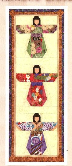 Kimono Girl Quilted Wall Hanging.  I'd like to do this close to the binding on a future project