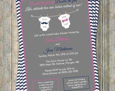 Joint Baby Shower Invitation onesies por freshlysqueezedcards