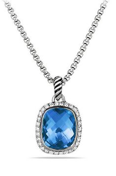 Noblesse Pendant Necklace with Blue Topaz and Diamonds