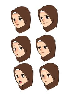 Expression study by on DeviantArt Character Design Animation, Character Art, Cartoon Drawings, Cartoon Art, Hijab Drawing, Anime Faces Expressions, Manga Drawing Tutorials, Islamic Cartoon, Anime Muslim
