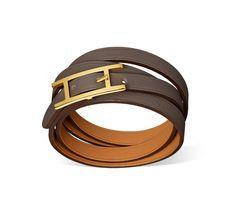"""Hapi 3 MM Hermes leather bracelet (size GM) Grey swift calfskin  Gold plated hardware, 27.5"""" long, 0.3"""" wide."""