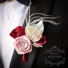 Boutonniere Wedding Boutonniere  Buttonhole Grooms Boutonniere Coral Boutonniere Gold Boutonniere Ivory Boutonniere Rose Boutonniere