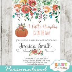 Floral Pumpkin baby shower invitations for an autumn themed celebration. These personalized pumpkin baby shower invitations feature a beautiful fall arrangement of garden flowers, branches, leaves and berries against a white backdrop. The design is perfect for a baby boy or girl fall baby shower theme.