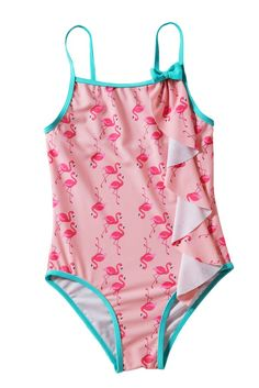 Toddler Girls Flamingo Print Swimwear