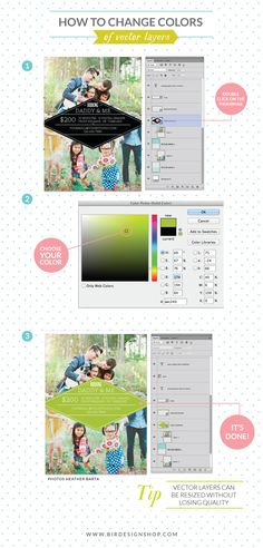 How to change the design colors | Photoshop templates for photographers by Birdesign