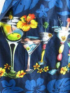 RJC Mens Hawaiian Camp Shirt Cocktail Theme Martini Drinks Cosmo Tiki Olive XL   eBay $41.95