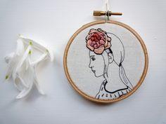 Floral crown embroidery 'Sadie' 3 inch hoop by CheeseBeforeBedtime