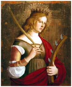 Cima da Conegliano - - Saint Catherine of Alexandria. Italian Renaissance, Renaissance Art, St Catherine Of Alexandria, Saint Katherine, Religious Paintings, Italian Painters, Sea Art, Patron Saints, Roman Catholic
