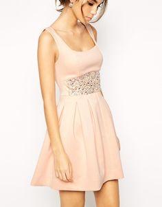 Enlarge ASOS Scuba Debutante Dress With Embellished Waist