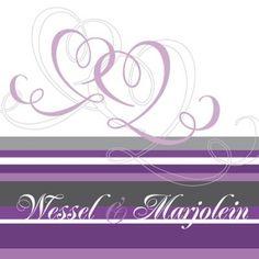 Purple heart (0106) - Trouwkaarten met een illustratie - Trouwkaarten - Originele Trouwkaarten
