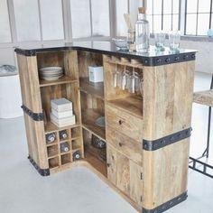 Bar in industrial angle wood and metal Home Decor Kitchen, Kitchen Design, Bar En Palette, Custom Furniture, Furniture Design, Bar Deco, Bar Unit, Home Staging, Bars For Home