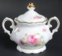 Bavaria Meissen Rose Sugar Bowl & Lid Sugar Bowls, China Image, Cream And Sugar, Bavaria, Fine China, Dinnerware, Tea Pots, Jewelry Watches, Roses