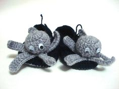 baby boy shoes Grey octopus Baby Booties by AnatoliaDreams on Etsy, $25.00