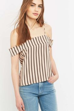 Light Before Dark Cold Shoulder Striped Beige Cami - Urban Outfitters
