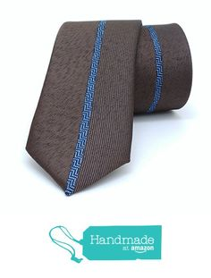 "Brown and blue dotted, striped men's tie 6 cm (2,36"") SL-193 from Nazo Design… #handmadeatamazon #nazodesign"