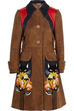 Love this Miu Miu brown suede coat with cat and flower applique.