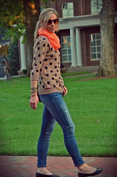 polka dot sweater & an orange scarf. huge fan.