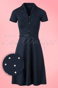 King Louie Navy Blue Polkadot Dress 100 39 20265 20170214 0002W1
