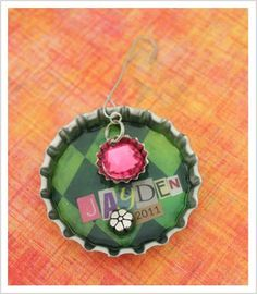 mixed media Christmas ornament craft for kids and adults - jumbo bottle caps