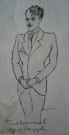 """Nagy Endre (1877-1938) újságíró, író, konferanszié, kabaréigazgató.""""Tudtommal ilyen vagyok""""/Az író saját kezű rajza önmagáról./(Tus,papír) Mihály Gyűjtemény"""