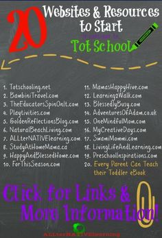 20 Websites & Resources to Start Tot School – Middle Way Mom 20 Websites & Resources to Start Tot School Helpful websites and resources to help start tot school, prepare for preschool, implement Montessori, and more. Teach your toddler at home! Toddler Learning Activities, Preschool Activities, Teaching Kids, Kids Learning, Preschool Websites, Teaching Toddlers Colors, Homeschool Preschool Curriculum, Learning Shapes, Learning Time