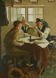 """NORMAN ROCKWELL (American, 1894-1978) Study for """"Scouts of Many Trails"""""""