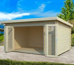 With a 5 year guarantee, the Palmako Lea Log Cabin has superb double glazed bi-fold doors. Visit Shedstore for our fantastic range of log cabins. Large Summer House, Corner Summer House, Summer Houses, Sheds Direct, Tongue And Groove Cladding, Buy Shed, Garden Log Cabins, Log Cabins For Sale, Apex Roof