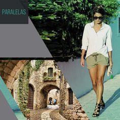 Amamos as construções de pedra da Cataluña, na Espanha. Para combinar com lugares assim, um sapato de tiras e um look simples de shorts + camisa, fica perfeito!