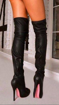 #highheelbootsstilettos Sexy High Heels, Thigh High Boots Heels, Sexy Legs And Heels, Sexy Boots, Knee Boots, Heeled Boots, Red Sole Heels, Talons Sexy, Leder Boots