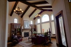 How to Use Living Room Ceiling Beams Wooden Beams Ceiling, Faux Wood Beams, Wood Ceilings, Wood Paneling, Next Living Room, Brown Paint Colors, Types Of Ceilings, Exposed Rafters, Highland Homes