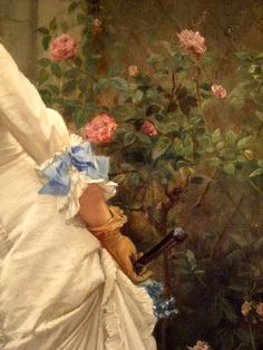 Auguste Toulmouche: A Girl and Roses (1879) DETAIL