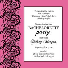 Black Lace and Pink Bachelorette Party Invitation