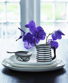 b&w; and purple flowers