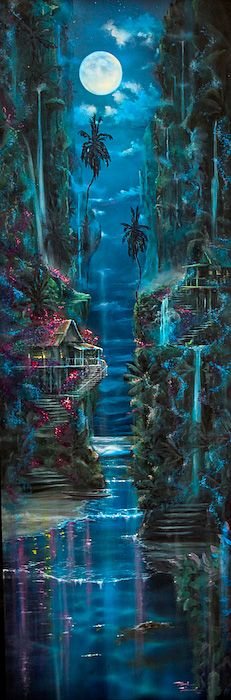 Showcase of surf art by surf artist Mark Howard on Club Of The Waves Fantasy Art Landscapes, Fantasy Landscape, Fantasy Artwork, Fantasy Forest, Fantasy World, Beautiful Nature Wallpaper, Fairytale Art, Fantasy Images, Moon Art