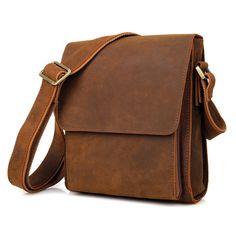 d8514fb3e3 Image of Genuine Saddle Leather Men s Messenger Bag Crossbody Bag Shoulder  Bag Ipad Case--