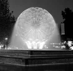 El Alamein Fountain, Macleay St, Kings Cross at night, 1970. Kerry Dundas photo.