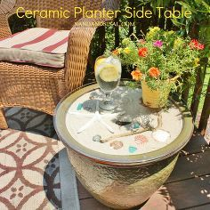 ceramic planter side table, decks, outdoor furniture, painted furniture, patio