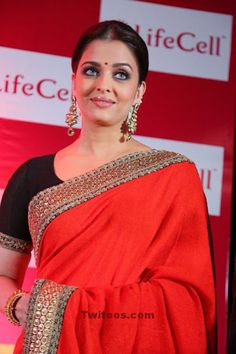Aishwarya Rai Looks Stunning In Saree At The Launch Of Umbilical Cord Stem Cell Bank 'Lifecell' In Mumbai ~ bollywood Aishwarya Rai Latest, Aishwarya Rai Photo, Actress Aishwarya Rai, Aishwarya Rai Bachchan, Bollywood Actress, Bollywood Fashion, Black Anarkali, Cannes Film Festival 2014, Red Saree