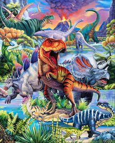 Dinosaur Fabric, Dinosaur Art, 24 X 36 Posters, Panel Quilts, Crisp Image, Jurassic World, Fabric Panels, T Rex, Four Seasons