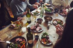 A hearty dinner. Brunch, A Well Traveled Woman, Banquet, Sweet Home, Dinner With Friends, Fine Dining, Dining Tables, Communal Table, Food Styling