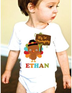 My 1st Thanksgiving Personalized Turkey Baby Onesie or Shirt for Boys and Girls #FMT #funkymonkeythreads #myfirstthanksgiving