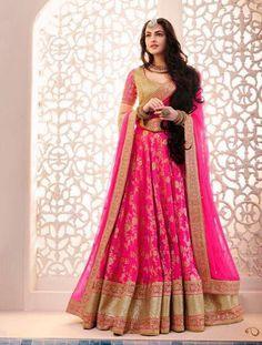bridal pink lehenga choli 2017  LATEST DESIGNER PINK BRIDAL LEHENGA CHOLI IN NET FOR BRIDE