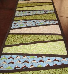 Table Runner Quilted Modern Birds Green Brown Blue by diningout, $42.00