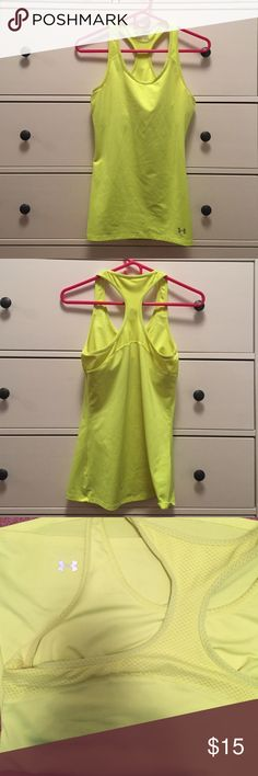Under Armour tank top Under Armour fitted work out top. Built in bra. Heat gear. Size M. Under Armour Tops