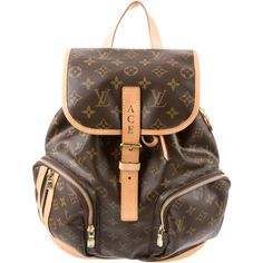 Pre-owned Louis Vuitton Monogram Bosphore Backpack ($1,295) ❤ liked on Polyvore featuring bags, backpacks, brown, louis vuitton, day pack backpack, brown backpack, louis vuitton bags and zipper bag