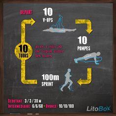 Pas de besoin de matériel pour faire un entraînement de type CrossFit : V-ups, pompes et sprint #crossfit #musculation #fitness